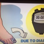 Foot, stopwatch, and due to diabetes on a screen